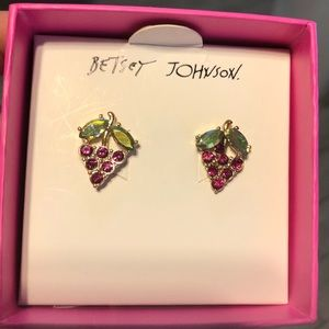 Betsey Johnson strawberry earrings in gift box